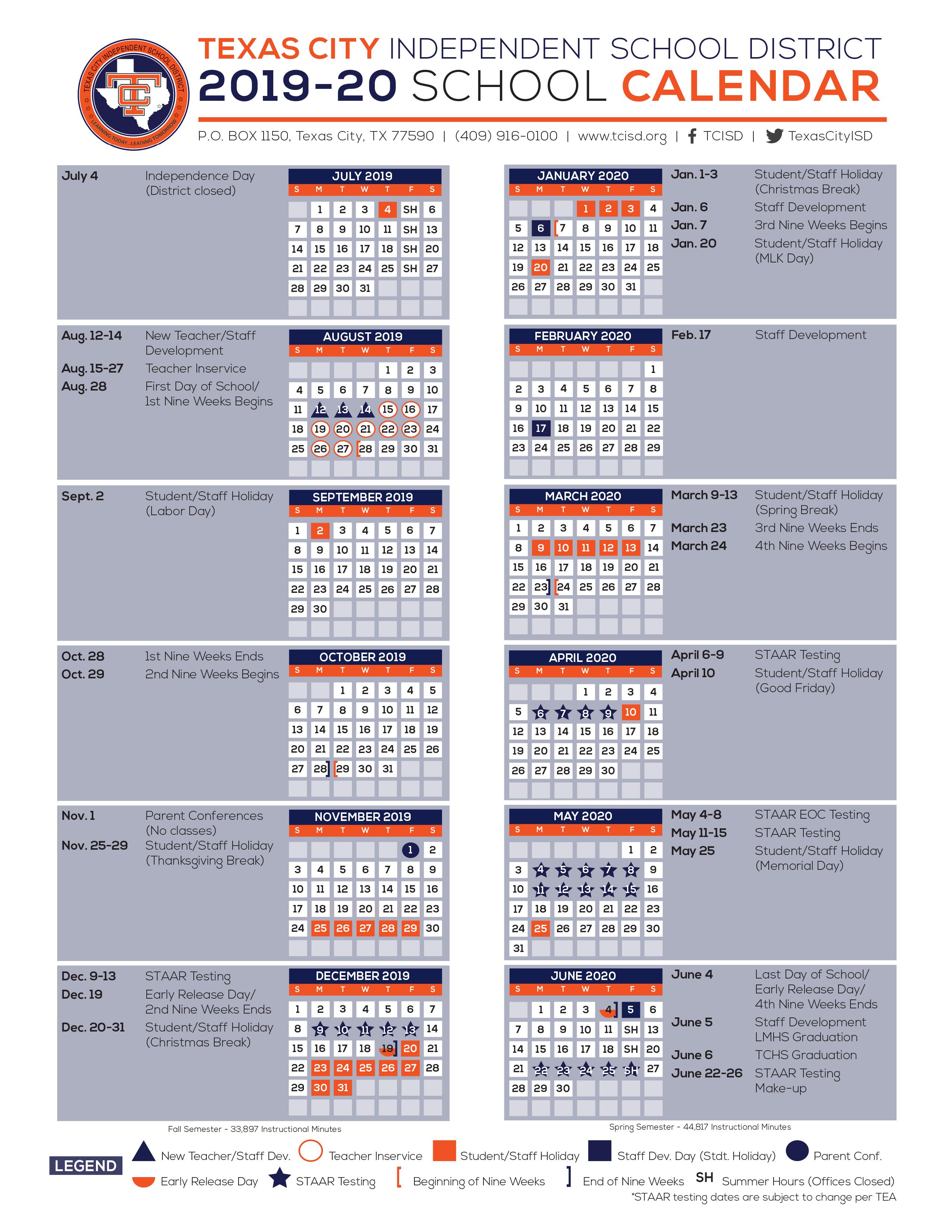 Calendario Kinder 2020.Calendar Texas City Independent School District