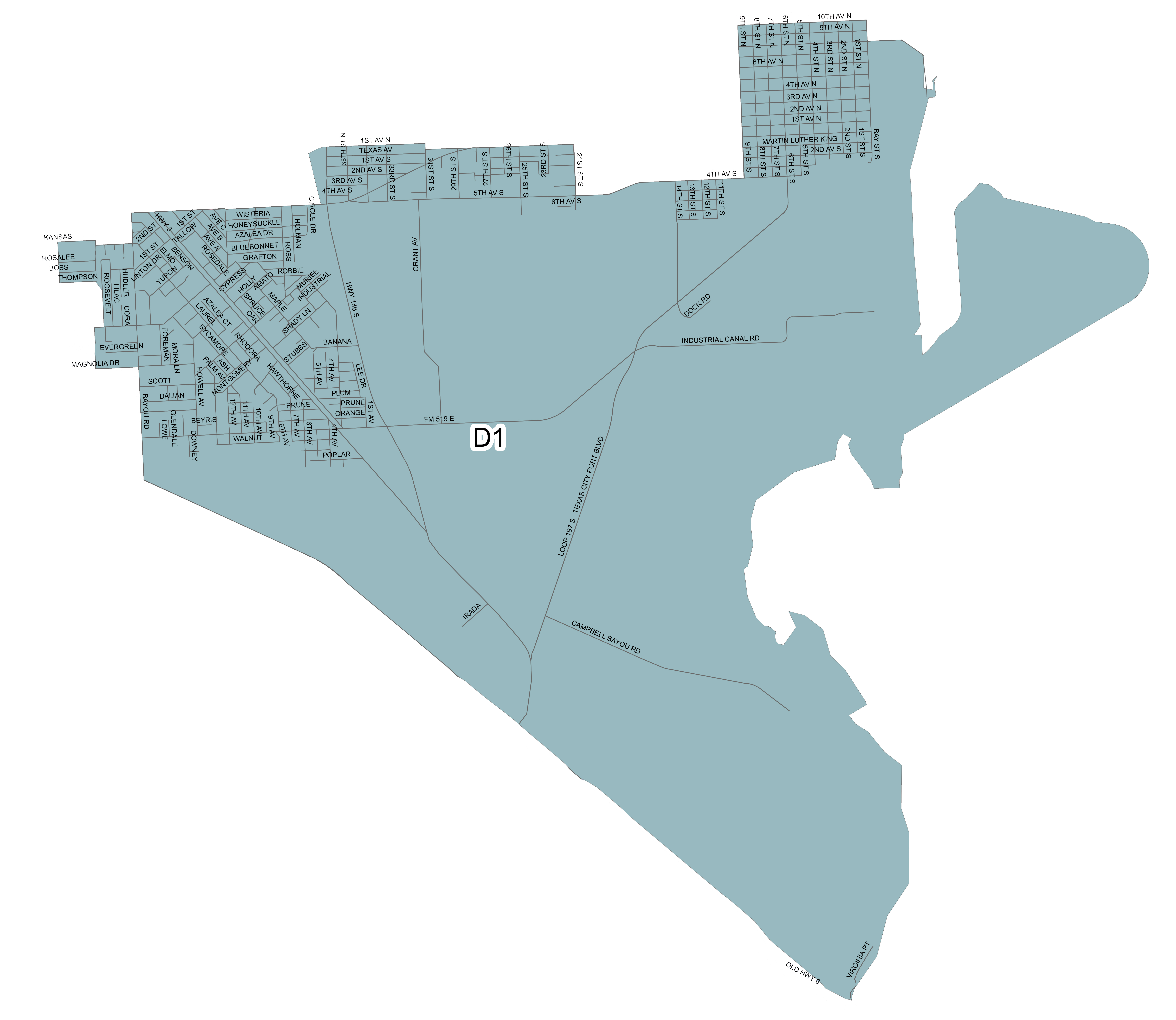 Map Of Texas City.Territorial Maps For Trustee Positions Texas City Independent